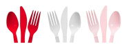Red, White & Pink - 48 Spoons, 48 Forks, 48 Knives - Valentines