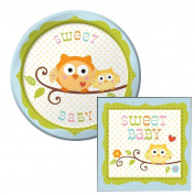 Happy Owl Sweet Baby Boy Dessert Plates & Napkins Party Kit for 8