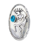 Vintage Navajo Silver Turquoise Oval Kokopelli Brooch Pin