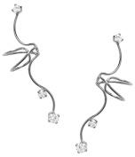 Ear Charm's Non-Pierced Triple CZ Full Ear Spray Ear Cuff Rhodium on Silver PAIR of Earring Cuff