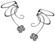 Lucky Clover Pair 925 Sterling Silver Non-pierced Wave Ear Cuff Earrings