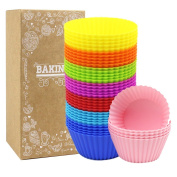 LoveS 40 Pcs Silicone Cupcake Moulds Muffin Moulds Cupcake Cases (40 Round Cups) - Non-Stick, Heat Resistant Up to 480°F Baking Moulds, Food Grade - 8 Vibrant Colours