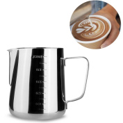 Frothing Pitcher - Milk Pitcher Stainless Steel 20oz (600ML) Measuring Scales for Espresso Cappuccino Milk Coffee Latte Pitcher