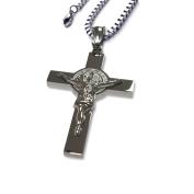 Catholic - Stainless Steel Saint Benedict Crucifix - San Benedicto - St Benedict Necklace Crucifix