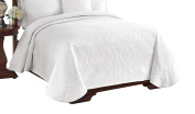 King Charles 13991BEDDQUEWHI Matelasse Coverlet,White,Queen