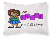 """Customizable, """"Cheerleader"""" Pillowcase. Personalised With Your Child's Name - Perfect Gift For Little Girls Of All Ages! Dark Skin Tone"""