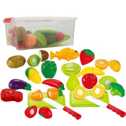 Pretend Food Playset For Kids, Fruits ,Vegetables, Poultry, Cutting Board, Knife And More! Set Includes A Storage Container