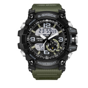Men's Military Digital Analogue Sports . Watch Waterproof Outdoor Electronic LED Backlight Display Alarm Stopwatch - Black