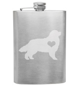 Bernese Mountian Dog Love 240ml Stainless Steel Flask - Hand Etched - Made in the USA, Great for gifts