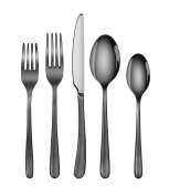 Artaste 57003 Rain II Forged 18/10 Stainless Steel Flatware 20-Piece Set, Black Finshed, Service for 4