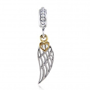 Angel Wing Charms with Gold Plated Heart 925 Sterling Silver Feather Pendant Dangel Christian Charm for Pandora Charms Bracelet