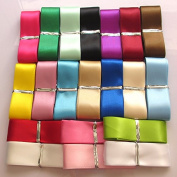 Chenkou Craft 20Yards 2.5cm Single Face Polyester Ribbon 20 Colours Assorted Bulk Lots Mix