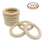 Efivs Arts 30pcs Natural Wood Rings for Craft, Ring Pendant and Connectors Jewellery Making DIY Projects