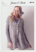 Ladies Waistcoat JB118 Knitting Pattern make with James C Brett Rustic Mega Chunky