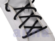 """Round Shoelace Black 45"""" 7 Pr. Eyelets 5mm Thick Sneakers Shoelace"""