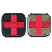 2pcs Bundle - Embroidered Medic Cross Tactical Patch with Hook and loop backing red & black / Red & Green Decorative Badge appliques