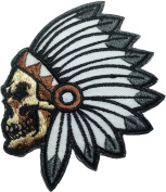 Feathered Indian Chief Head Death Skull Embroidered Sew Iron on Patch