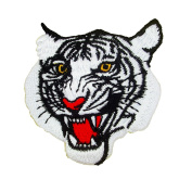 White Tiger Face, Embroidered Iron on Patches