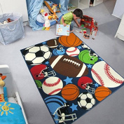 Blue Kids Rug Fun Sport Rugs Lets Play Blue Childrens Rug Balls Print with Soccer Ball, Basketball, Football, Tennis Ball Bedroom Playroom