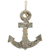 Nautical Anchor Wall Plaque with Metal Stitch and Rope Accents