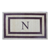First Impression Doormat, Engineered Classic Border Coir Monogrammed N, Terrance Red