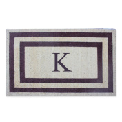 First Impression Doormat, Engineered Classic Border Coir Monogrammed K, Terrance Red