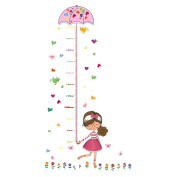 UNIQUEBELLA PVC Height Measurement Growth Chart for Child Kid Removable Nursery Wall Art Decals Stickers Cartoon Umbrella Wall Decorative for Girls Kid's Bedroom