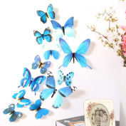 Wall Sticker,SMTSMT 12pcs Decal Home Decorations 3D Butterfly Rainbow