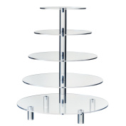 Hayley Cherie 5-Tier Round Cupcake Stand - Acrylic Tiered Cake Stand - Dessert or Cupcake Tower