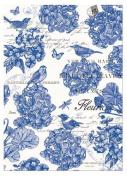 INDIGO Cotton Kitchen Towel by Michel Design Works - Bird, Blue Flowers