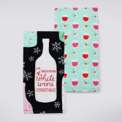 St. Nicholas Square Holiday Cheer White Wine Christmas Kitchen Towel 2-pk