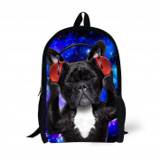 HUGSIDEA Stylish 3D Animal School Shoulder Bag Cute Dog Printed Backpack