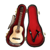 Wooden Maple Mini Toy Guitar Musical Instrument Miniature Dollhouse Model Home decoration with Case 14cm