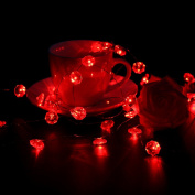 LEORX Copper Wire Lights Valentine String Lights with Faceted Ruby-Red Lights - 3m Long, 40 Lights, 7 Light Modes