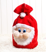 Zorvo Santa's Gift Sack Red Velvet Fabric Bags with Cute Santa Claus Face for Wrapping Christmas Gifts Such Like Candys or Toys for Your Lover
