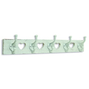 The Stockbridge Hearts Coat Rack, 5 Hooks, Wall Mounted, Over 2 ½ Long, Rustic White, Vintage Distressed Finish, Made by Hand of Responsibly Harvested Sustainable Wood, By Whole House Worlds