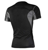Mens Short T-Shirt 3G Sports Compression Wear Under Base Layer Short Sleeve T-Shirts Tops Skin Two Tone Black/Grey - L