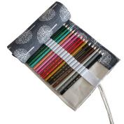 Hflove Unisex Pencil Bag Black Canvas 48 Hole Canvas Roll Pen Bag Tree Drawing Pencils Case