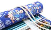 Hflove Unisex Pencil Bag Blue Canvas 48 Hole Canvas Roll Pen Bag Little Fawn Drawing Pencils Case