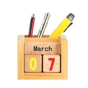 Drasawee Creative DIY Wooden Desk Ornaments Table Calendar Pen Holder Storage