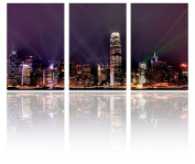 Mon Art 41cm x 60cm x 3 Pics Divergent Laser Light Night City Nightscape Painting Originality Wall Art Modern Canvas Decor Decoration Gallery No Stretched and UnFramed
