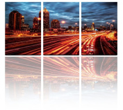 Mon Art 41cm x 60cm x 3 Pics Light Track Trajectory Exposure Night City Nightscape Painting Originality Wall Art Modern Canvas Decor Decoration Gallery No Stretched and UnFramed