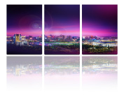 Mon Art 41cm x 60cm x 3 Pics Halo Divergent Laser Light Night City Nightscape Painting Originality Wall Art Modern Canvas Decor Decoration Gallery No Stretched and UnFramed
