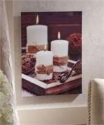 Three Candle LED Canvas Wall Decor