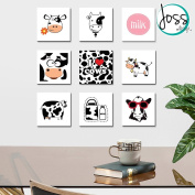 Wall Art Decor by JOSS DESIGN 9 Pieces Set, Ready to Hang! Cows