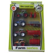 Cltoyvers 4 Pcs Metal Farm Tractor Trailer Toys Vehicle Play Set - Disc Plough, Water Tank, Waggon, Dump Trailer