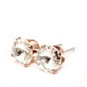pewterhooter 9mm Rose Gold stud earrings expertly made with sparkling Diamond white crystal from ®.