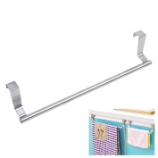 Mziart Towel Bar with Hooks for Bathroom and Kitchen, Brushed Stainless Steel Towel Hanger Over Cabinet Door