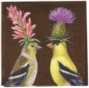 Paperproducts Design Vicki Sawyer Goldfinch Couple Paper Cocktail Napkins, Multicolor