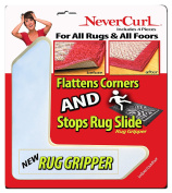 Rug Gripper with NeverCurl - Instantly Flattens Rug Corners AND Stops Rug Slipping. Uses Renewable Sticky Gel. Rug Anchor. 4 Pieces. Patent Pending by NeverCurl